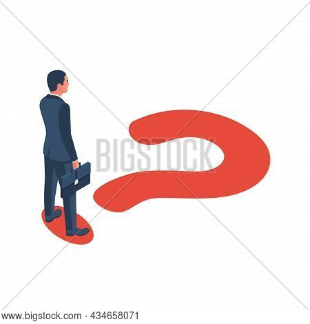Professional Question. Choice Process. Big Question Mark On Way. Businessman In Suit With Briefcase