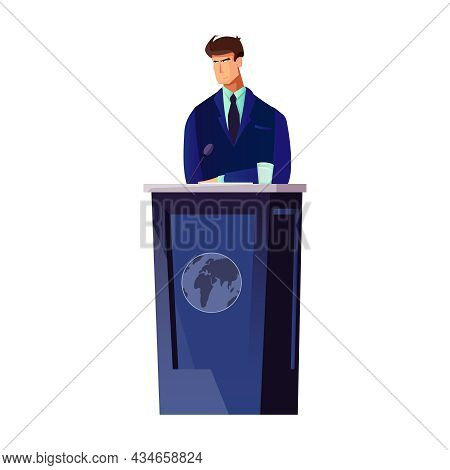 Flat Male Character Of Politician At Speakers Desk Vector Illustration