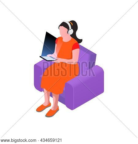 Woman In Headphones With Ebook Or Tablet Isometric Icon Vector Illustration