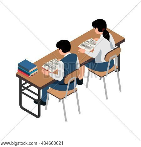 Two School Pupils Reading Book At Desk Isometric Icon On White Background Vector Illustration