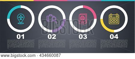 Set Line Plane, Lost Baggage, Passport And Calendar And Airplane. Business Infographic Template. Vec