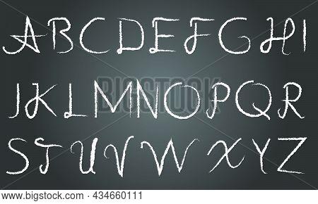 Hand Written Vector Charcoal Capital English Alphabet. Hand Written Vector Charcoal English Alphabet