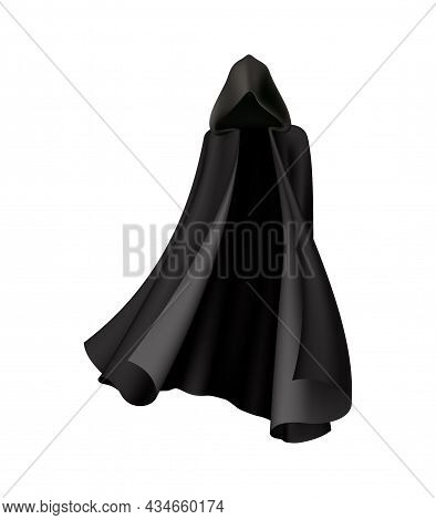 Black Hooded Cape For Halloween Costume On White Background Realistic Vector Illustration