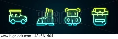 Set Line Safari Car, Hunter Boots, Hippo Or Hippopotamus And Hiking Backpack. Glowing Neon Icon. Vec