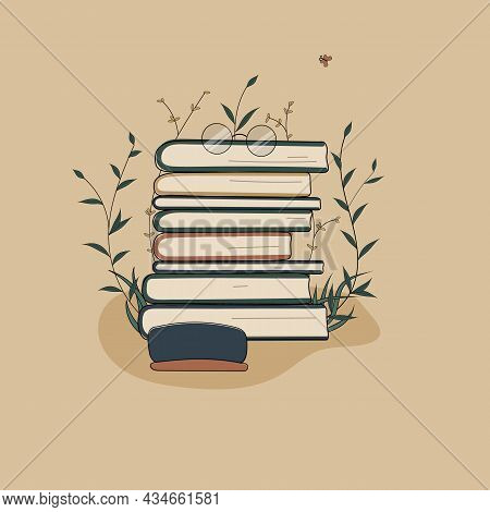 Concept:book Is Source Of Knowledge.glasses On Stack Of Books And Case Near Reading Book.pile Of Vol