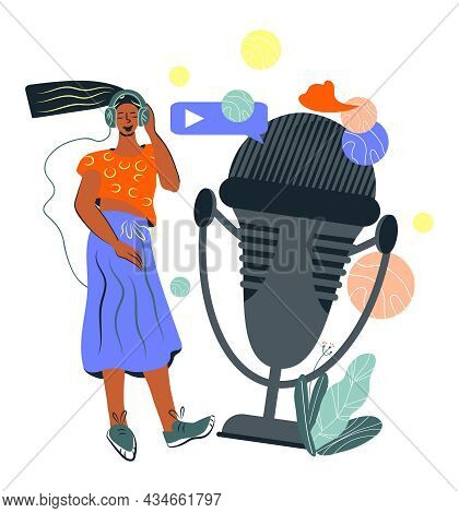 Woman Listening Online Broadcast Or Live Streaming. Entertaining And Educational Technology In Socia