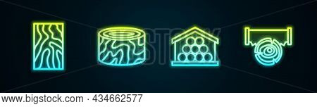 Set Line Wooden Beam, Tree Stump, Logs And Two-handed Saw And. Glowing Neon Icon. Vector