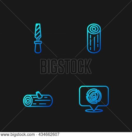 Set Line Wooden Logs, Rasp Metal File And . Gradient Color Icons. Vector