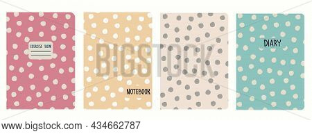 Cover Page Vector Templates Based On Rustic Polka-dot Seamless Patterns. Headers Isolated And Replac