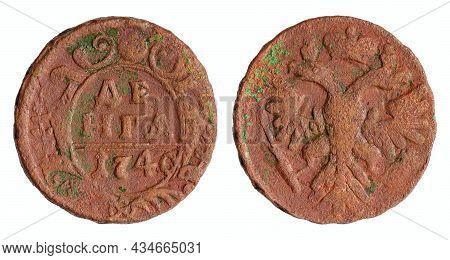 Copper Coin Of The Russian Empire. One Denga (half Kopek) 1740