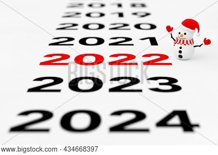 New 2022 Year Sign With Snowman On A White Background. 3d Rendering