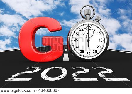 New 2022 Year Concept. Stopwatch As Go Sign Over 2022 New Year Road On A Blue Sky Background. 3d Ren