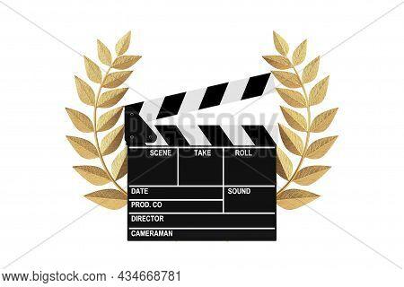 Cinema Award Concept. Movie Slate Clapper Board With Gold Laurel Wreath Winner Award On A White Back