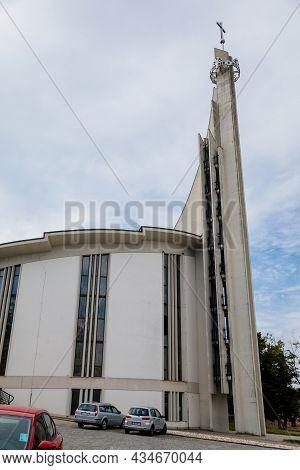 Hustopece, Southern Moravia, Czech Republic, 04 July 2021: Modern Church Of St. Wenceslas And St. Ag