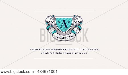 Vermouth Emblem And Decorative Serif Font. Letters And Numbers For Logo And Label Design. Vector Ill