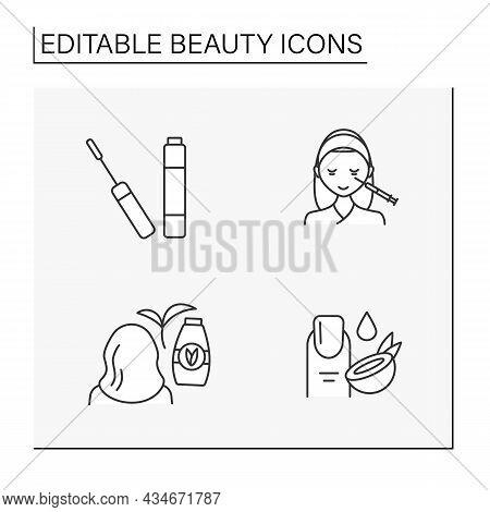 Beauty Line Icons Set. Mascara, Beauty Injections, Coconut Cuticle Moisturizing And Natural Shampoo.
