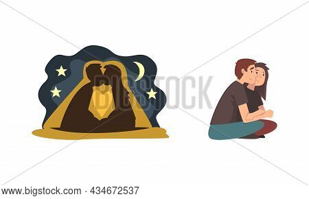 Young Male And Female Couple Sitting Embracing And Kissing Under Night Sky Feeling Love And Affectio