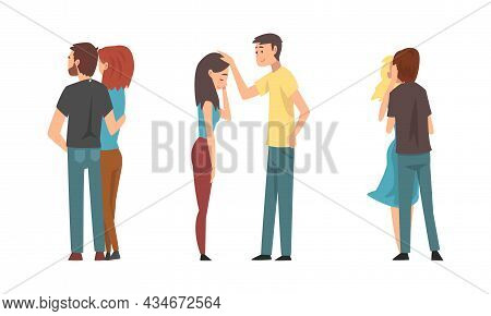 Young Male And Female Couple Embracing And Kissing Feeling Love And Affection Vector Set
