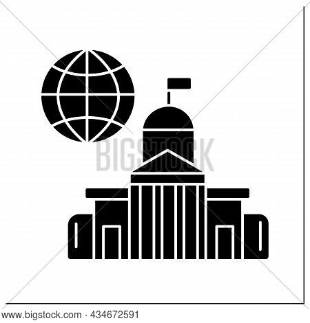 Embassy Glyph Icon. State Diplomatic Mission Place Abroad. Located In Another Country. Government Fo