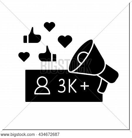 Influencer Glyph Icon. Micro Influencer. Blogger With Three Thousand Plus Subscribers. Low Influence