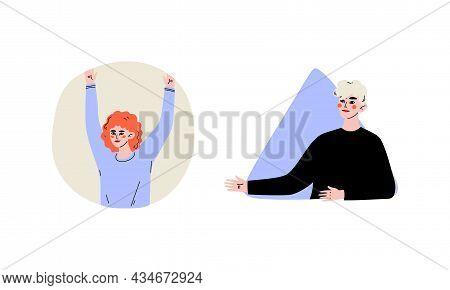 Young Redhead Woman And Blond Man Looking Out Of Round And Triangular Window Vector Set