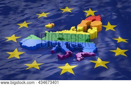 Map Of Europe In Lgbt Colors Against The Background Of The Eu Flag. 3d Rendering.