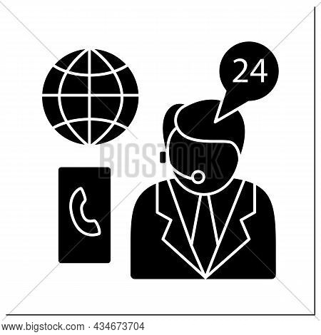 Emergency Assistance Glyph Icon.consumer Support Day-and-night.consultation About Arresting Citizens