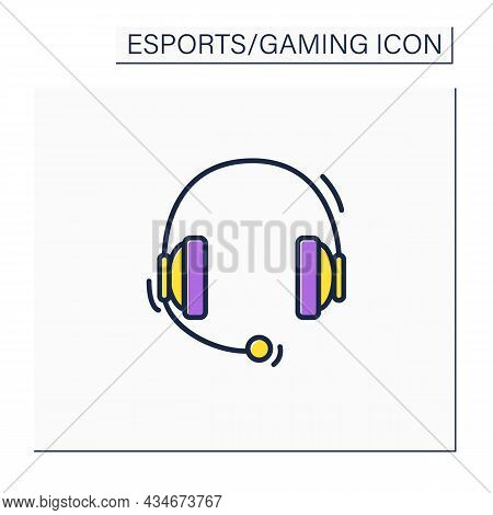 Headset Color Icon. Headphones With Microphone. Technical Equipment For Playing Games. Cybersport Co