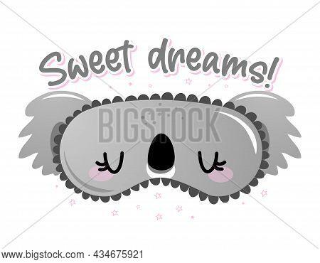 Sweet Dreams - Funny Hand Drawn Doodle. Sleeping Mask, Stars, Hearts. Cartoon Background, Texture Fo