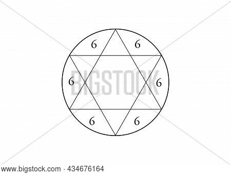 Kabbalistic Tetragram, Star Of Solomon With Number Of The Devil, Hexagram. Sign Was Used By Masons,
