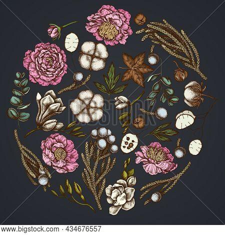Round Floral Design On Dark Background With Ficus, Eucalyptus, Peony, Cotton, Freesia, Brunia Stock