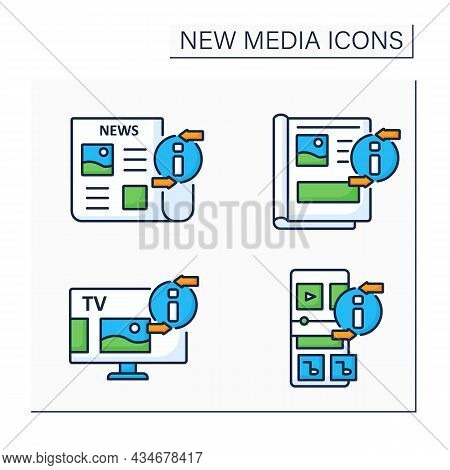 New Media Color Icons Set. Newspaper, Magazine, Radio, Television. Information Space Concept. Isolat
