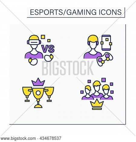 Esports Color Icons Set. Virtual Reality Goggles, Wireless Headphones, Team Gaming, Champion Golden