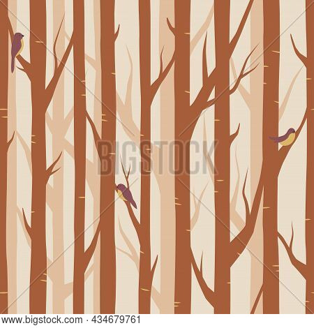 Wood, Forest Seamless Pattern, Tree Branches Background
