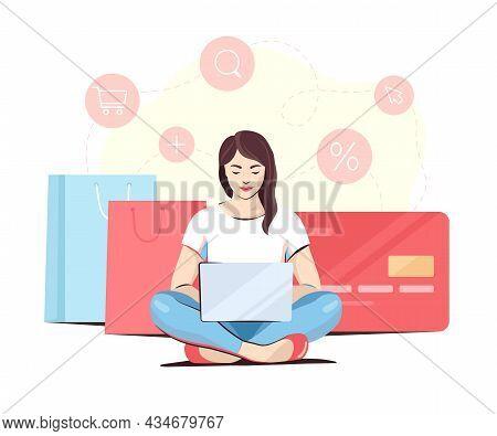Woman Doing Online Shopping Sitting Cross-legged, Vector Illustration