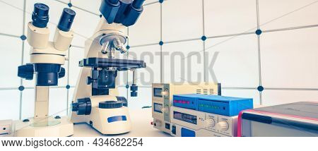 Measuring instruments in a modern physics research laboratory. High quality photo