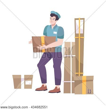 Flat Postal Worker Carrying Parcel Box Vector Illustration