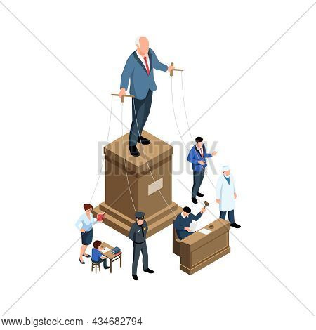 Puppet Government Authoritarianism Isometric Concept With Political Figure Doctor Teacher Child Poli