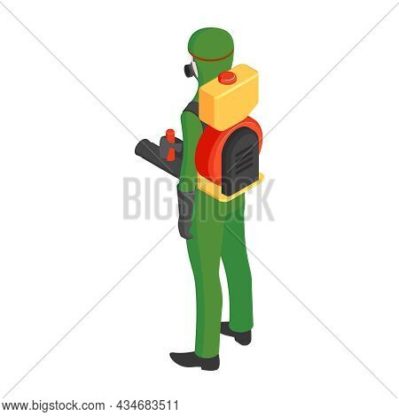 Pest Control Service Worker In Protective Uniform Back View Isometric Vector Illustration