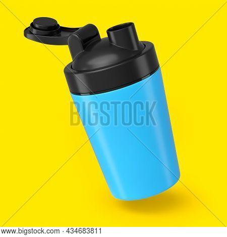 Blue Plastic Sport Shaker For Protein Drink Isolated On Yellow Background. 3d Render Of Sport Food C