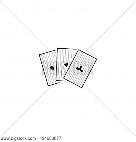 Game Cards Vector Thin Line Icon. Playing Cards Aces Hand Drawn Thin Line Icon.