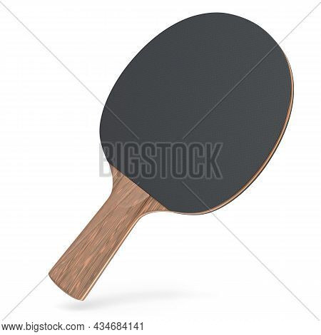 Black Ping Pong Racket For Table Tennis Isolated On White Background. 3d Render Of Sports Equipment