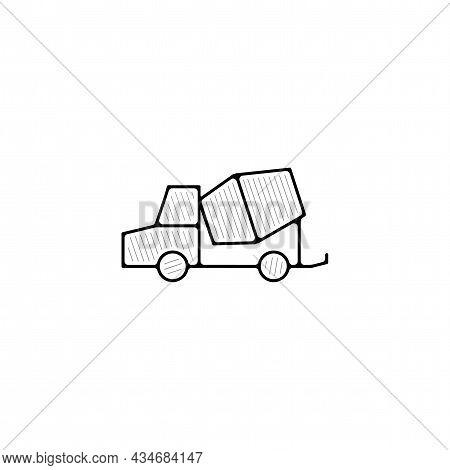 Concrete Mixer Truck Vector Thin Line Icon. Concrete Mixer Truck Hand Drawn Thin Line Icon.