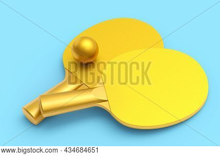 Pair Ping Pong Rackets For Table Tennis With Ball Isolated On Blue Background. 3d Render Of Sports E