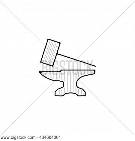 Anvil Vector Thin Line Icon. Anvil Hand Drawn Thin Line Icon.