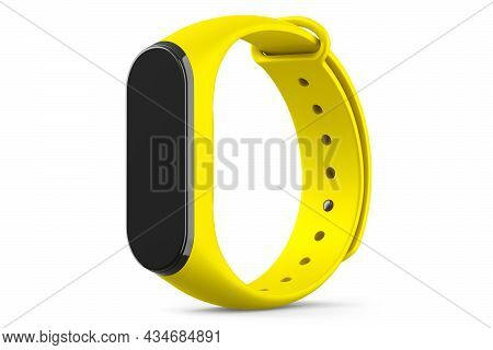 Yellow Fitness Tracker Or Smart Watch With Heart Rate Monitor Isolated On White Background. 3d Rende