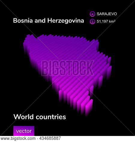 Stylized Neon Digital Isometric Striped Vector Bosnia And Herzegovina Map With 3d Effect. Map Of Bos
