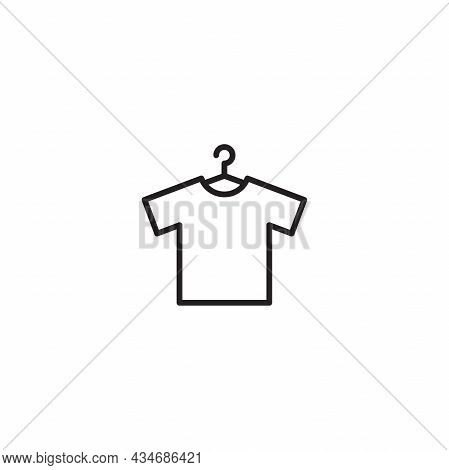 Simple Flat T Shirt Icon Illustration Design, T Shirt On Hanger Symbol With Outlined Style Template