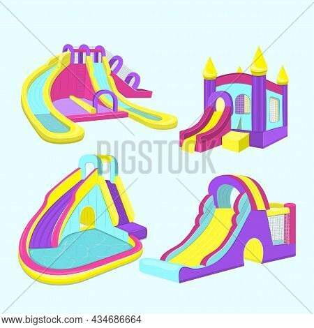 Vector Illustration Of Inflatable Slides Isolated On Blue Background.
