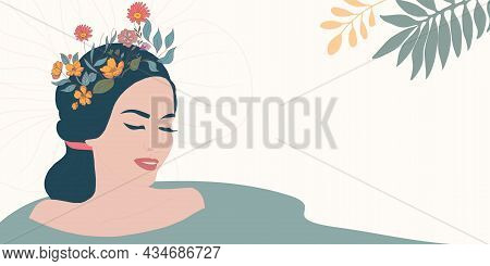 Face Of Smiling Relaxed Woman Taking Care Of Her Body. Treatment Therapy Cleaning Care And Hygiene O